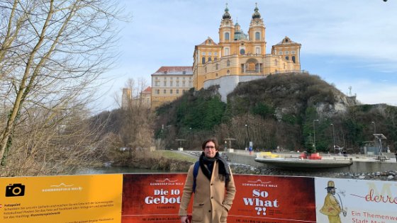 Maxx in Front of the Melk Abbey on our cruise excursion